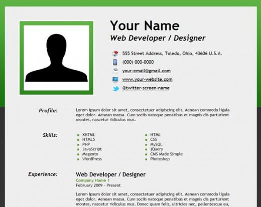 Example Of Resume Html How to Create an HTML5 Microdata Powered Resume