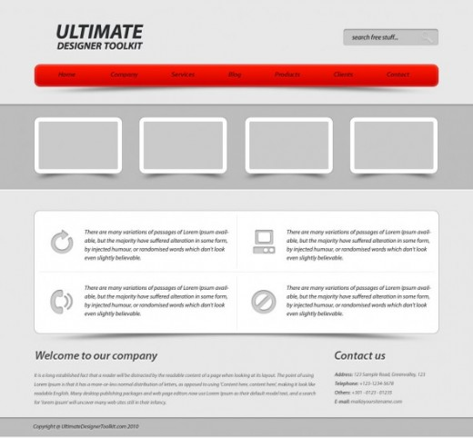 Design a corporate web layout