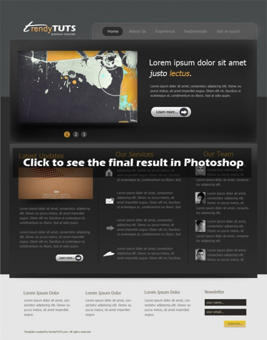 Learn how to create a website layout in Photoshop