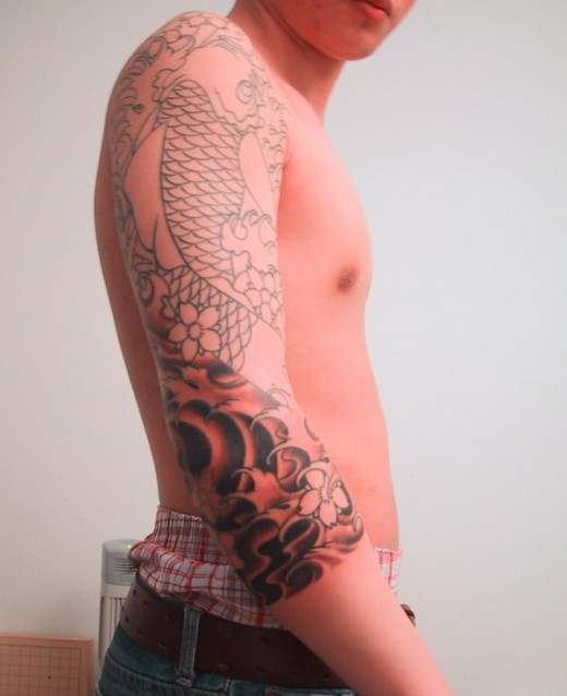 Japanese Koi 3-4 Sleeve Tattoo