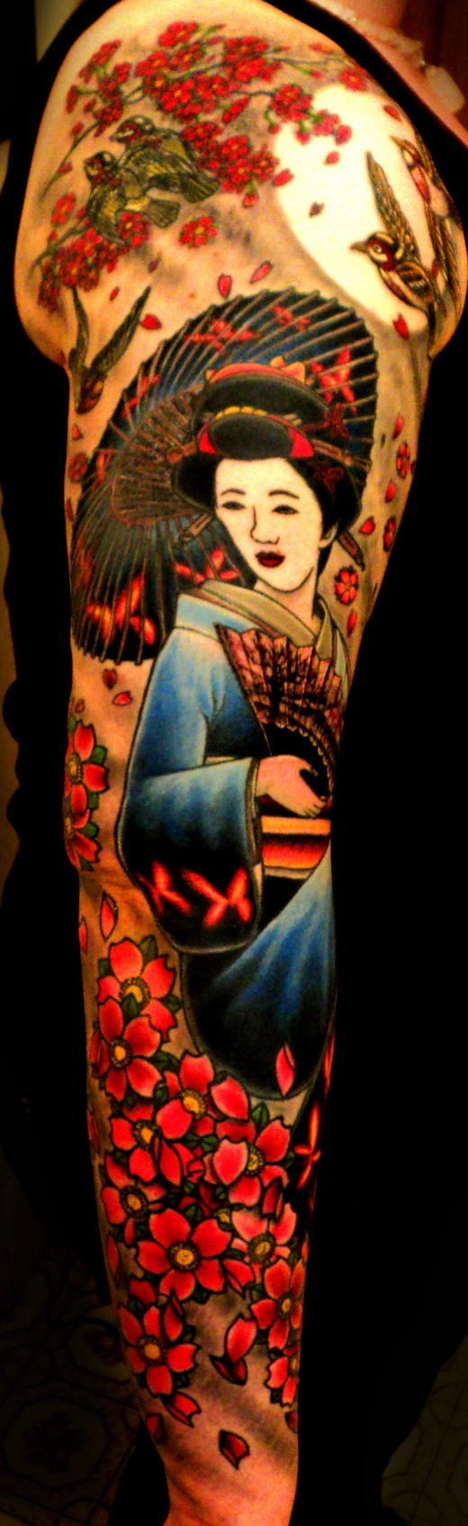 Japanese Style Sleeve Tattoo - Geisha and Blossoms