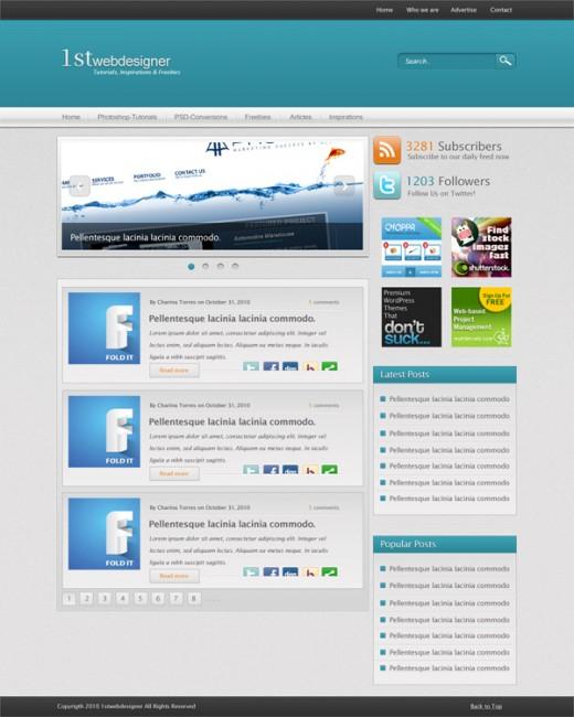 Create A Blue WordPress Blog Layout In Photoshop