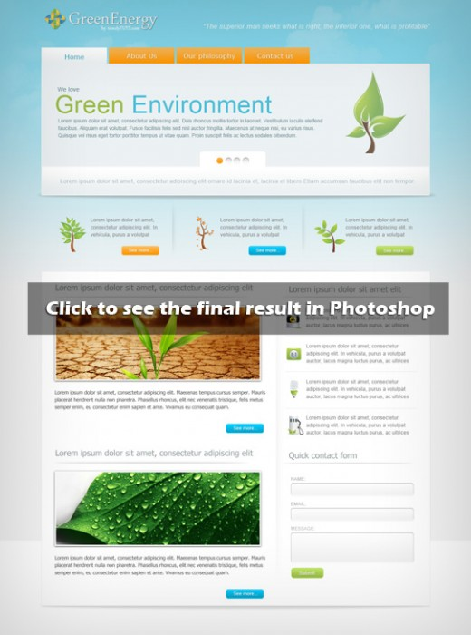 Create a green energy website in Photoshop