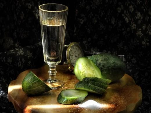 Cucumber with vodca