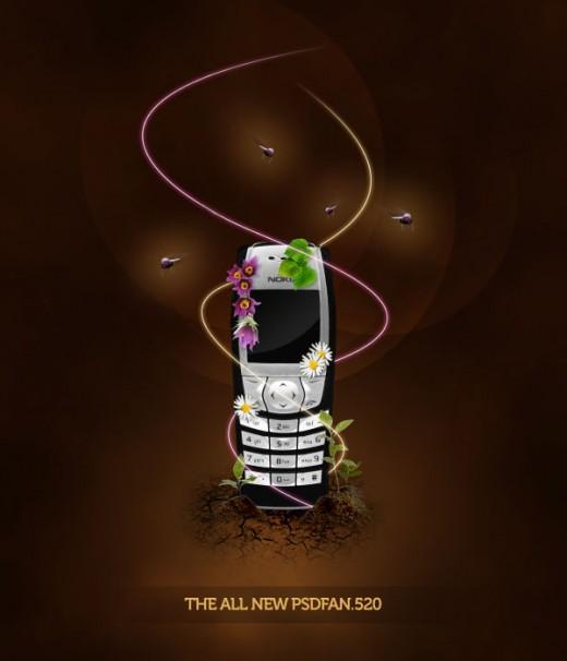 Design a Sleek Nature Themed Phone Advert