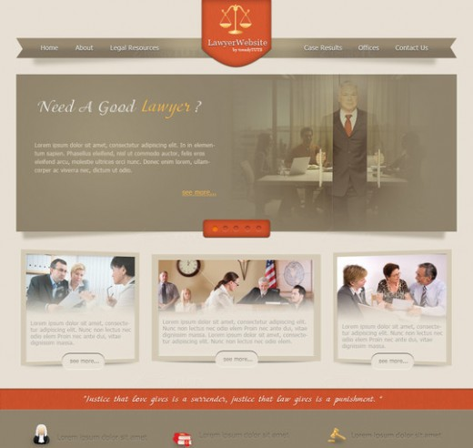 How to design a law justice website in Photoshop