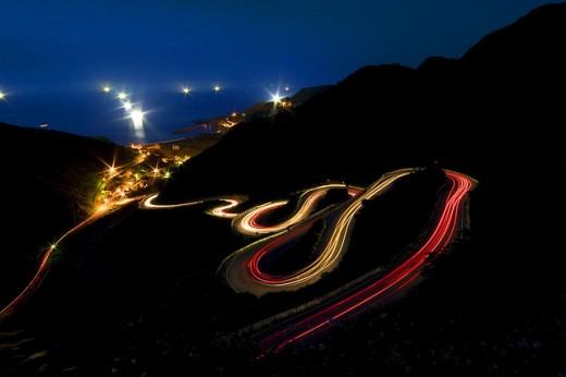 Light trails on the S curve road, Jioufen, Taiwan