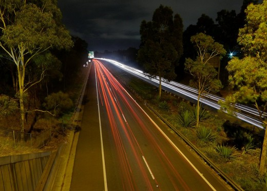 Long Exposure on the M5 Highway