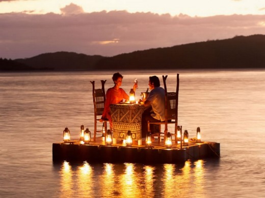 Romantic dinner over the sea