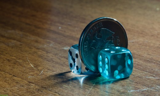 Two dice and coin