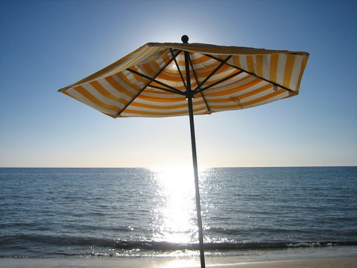 Beach Umbrella in Late Afternoon Sunlight