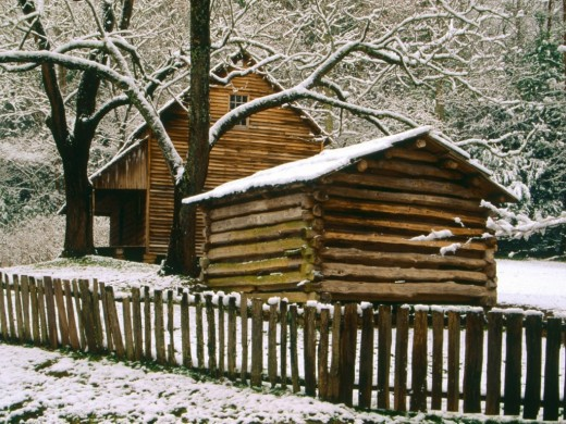 Cabin in the winter wallpapers