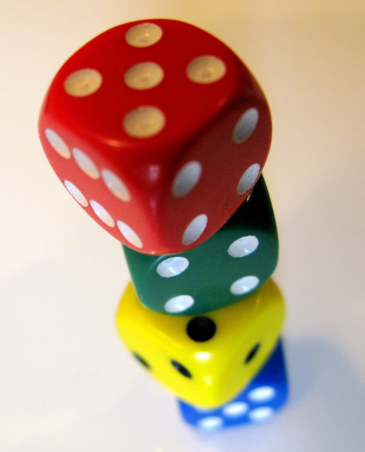 The dice are stacked