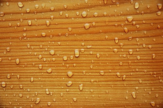 water drops on wood