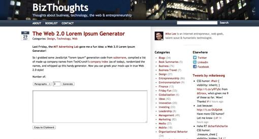 The Web 2.0 Lorem Ipsum Generator
