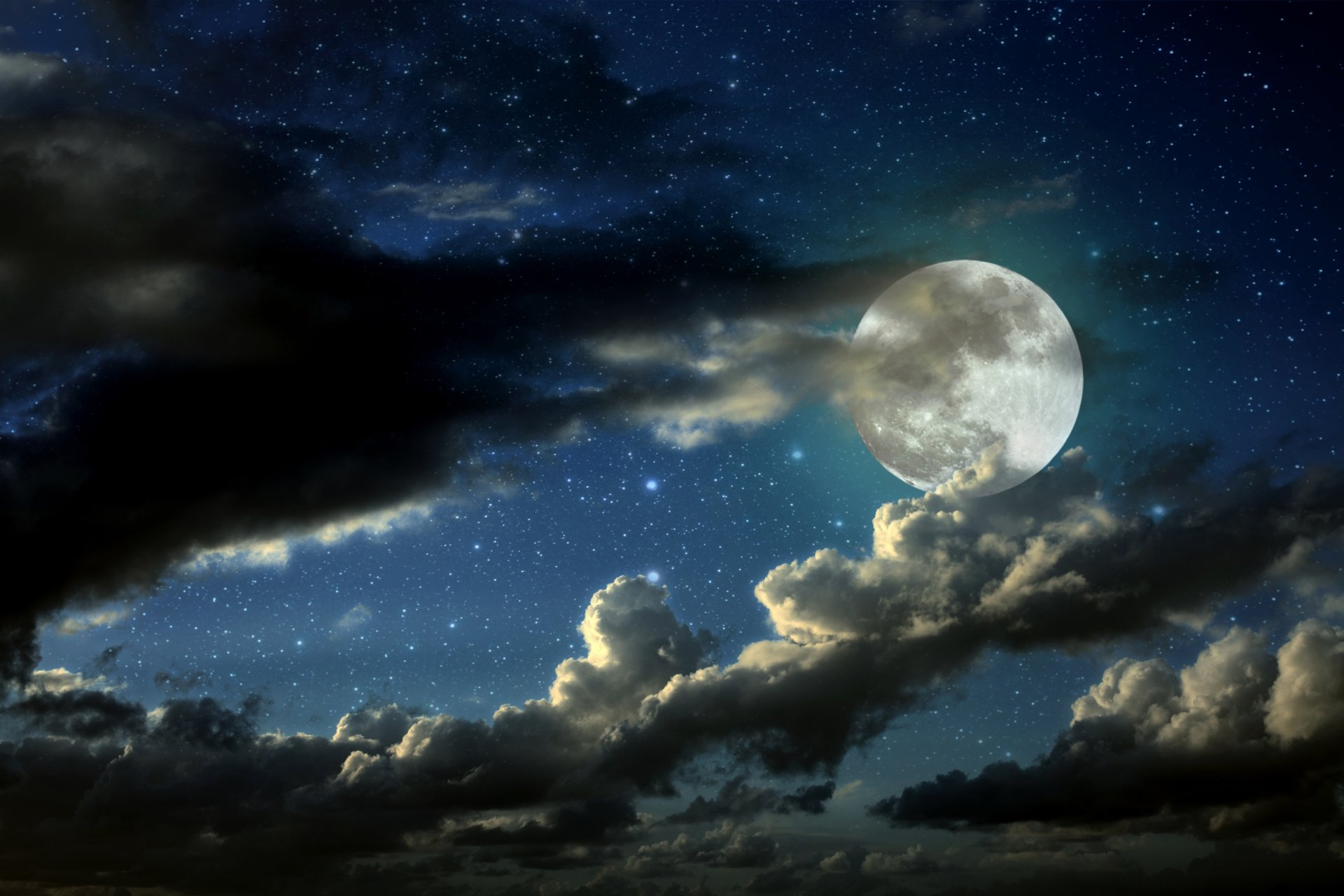 Amazing Moon and Cloudy Sky Wallpaper