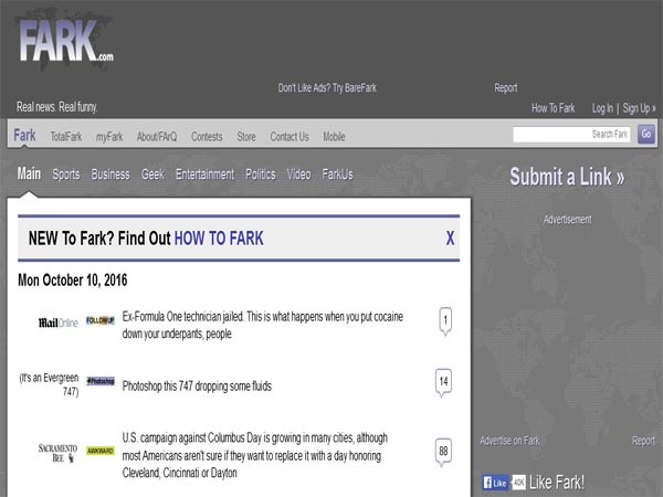 fark - Funny Website Designs