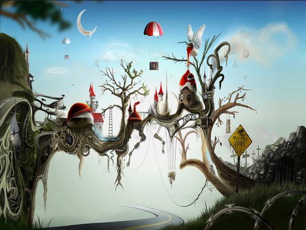trippy-tree-village-wallpaper
